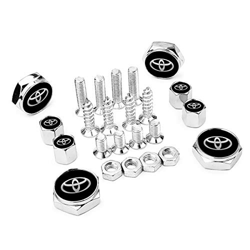 - Surmoler Tire Valve Stem Caps Zinc Alloy Material Outdoor, All-Weather and License Plate Frame Bolt Screws Applicable to All Models - Toyota