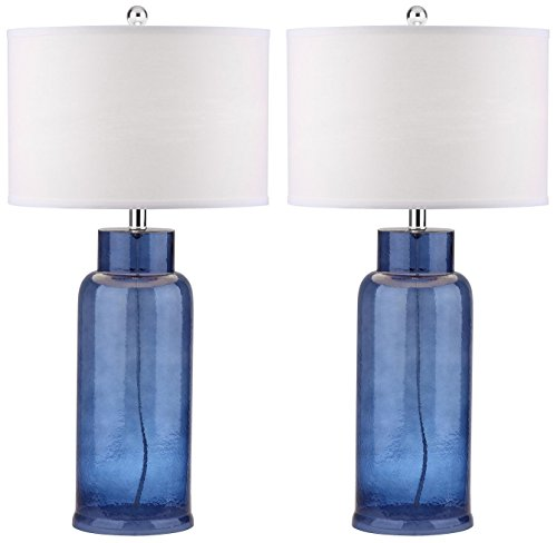 Collection Table Lamp - Safavieh Lighting Collection Bottle Glass Blue 29-inch Table Lamp (Set of 2)