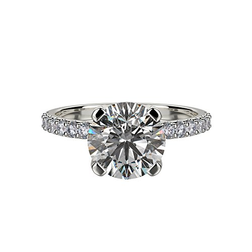 NANA Silver 7.5mm (1.5ct) Round Cut Zirconia Solitaire Engagement Ring-Platinum Plated-Size 7
