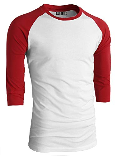 OLLIE ARNES Men's Basic Crewneck 3/4 Sleeve Cotton T-Shirt Raglan Baseball Top Single_WHTRED - Sleeve Youth Tee