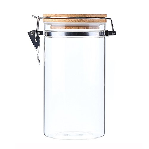 Pasta Storage Jars (AUYE Glass Storage Jar,Coffee Bean & Kitchen food Container With Clamp Airtight wood Lid (40-Ounce))