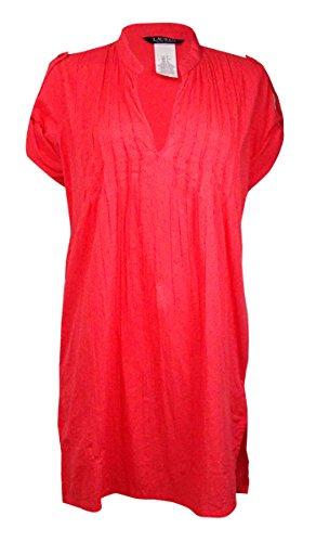 LAUREN Ralph Lauren Women's Crushed Cotton Darcy Tunic Cover-Up Coral Swimsuit ()