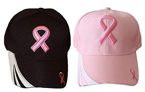 Set Of 2 ~ HIS N HERS ~ Pink Ribbon Breast Cancer Awareness Caps / Hats Breast Cancer Awareness Cap