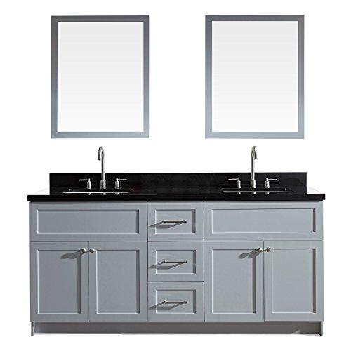 - ARIEL Hamlet 73 In. Double Sink Vanity Set With Absolute Black Granite Countertop In Grey