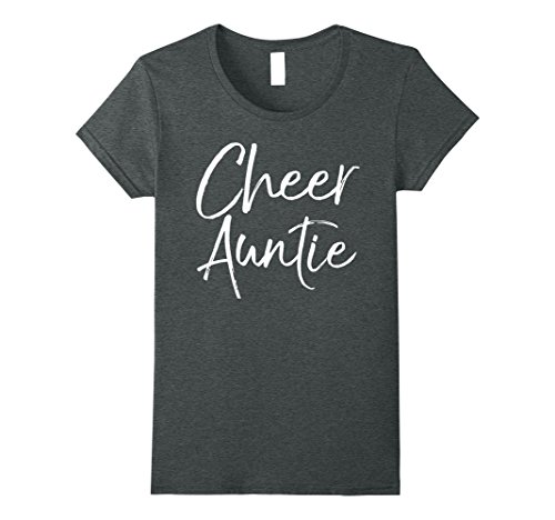 Womens Cheer Auntie Shirt Funny Proud Cheerleader Aunt Tee Large Dark Heather - Cheerleader Dark T-shirt