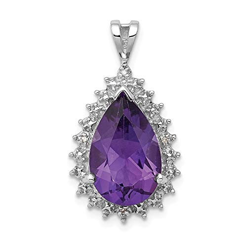 925 Sterling Silver Purple Amethyst Diamond Pear Pendant Charm Necklace Gemstone Fine Jewelry Gifts For Women For Her ()