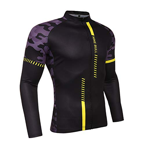 Men's Long Sleeve Cycling Jersey, Bicycle MTB Bike Shirt-Breathable and Quick Dry Bike Long Sleeve Tee