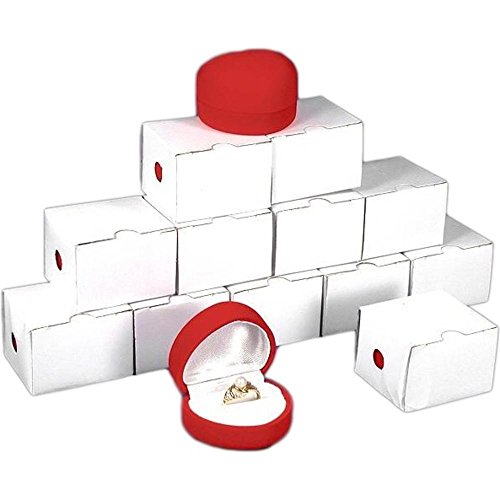12 Red Flocked Ring Heart Gift Boxes Jewelry Displays