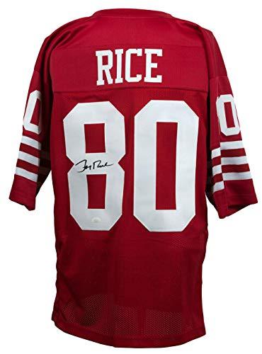 Jerry Rice Signed 49ers Custom Red Pro-Style Football Jersey JSA 143766
