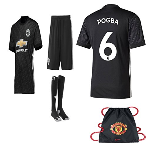 fan products of Manchester United Paul Pogba 2017 2018 17 18 Soccer Away REPLICA Jersey Kit : Jersey, Short, Socks + Soccer Bag(Kid Size 28 (10 - 11 Years Old) )