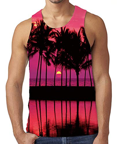 Freshhoodies Fashionable Vacation 3D Printed Tank Tops Novelty Graphic Sleeveless Undershirts for Men Teen Boys(Coconut-2,Medium) ()