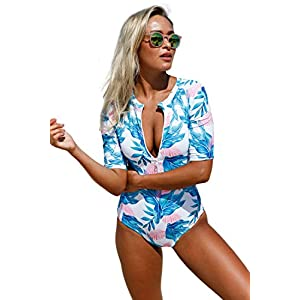 Aleumdr Womens Zip Front Printed Half Sleeve/Long Sleeve One Piece Swimsuit Swimwear S-XXL