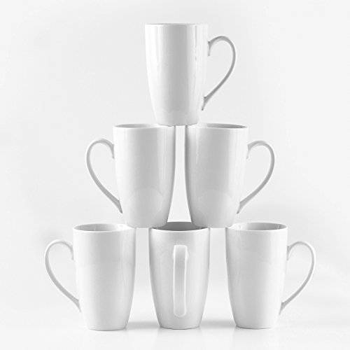 Oz Ceramic 16 Mug Latte - Amuse- Professional Barista Large Cozy Tall Mug for Coffee, Tea or Latte - Set of 6-16 oz