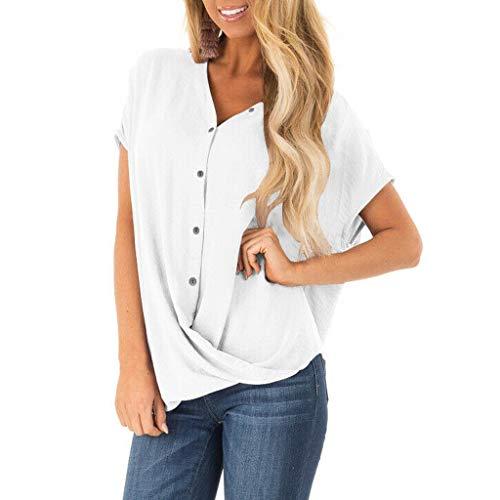 Amlaiworld Women Plus Size Blouse Office Shirt Summer Short Sleeve Chiffon Blouse T Shirt Casual Loose V Neck Button Tops White