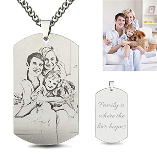 (AILIN Personalized Engraved Message Photo Text Dog Tag Pendant Custom Your Picture Necklace Gift for Dad Mens Dog Tag Pendants Size 22)