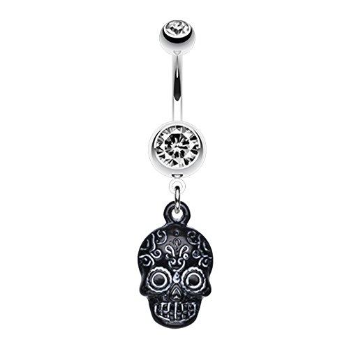 Vibrant Mayan Tribal Skull WildKlass Belly Button Ring