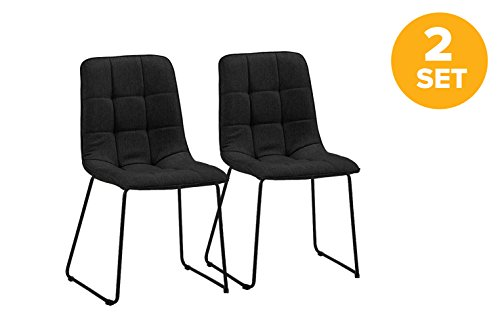 Set of 2 Dining Room Chairs, Linen Fabric Kitchen Chairs (Black)