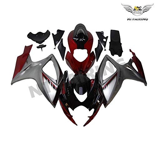 (NT FAIRING Red Silver Injection Mold Fairing kits Fit for Suzuki 2006 2007 GSXR 600 750 K6 GSX-R600 Aftermarket Painted ABS Plastic Motorcycle Bodywork)