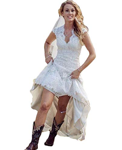 Vintage Lace Country Wedding Dresses for Bride A-Line V Neck High Low Bridal Gowns 2019 Ivory 10 (High Low Wedding Dresses With Cowboy Boots)