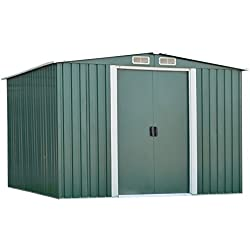 Peach Tree Outdoor Steel Garden Storage Utility Tool Shed Backyard Lawn Green w/Door (8'X6')