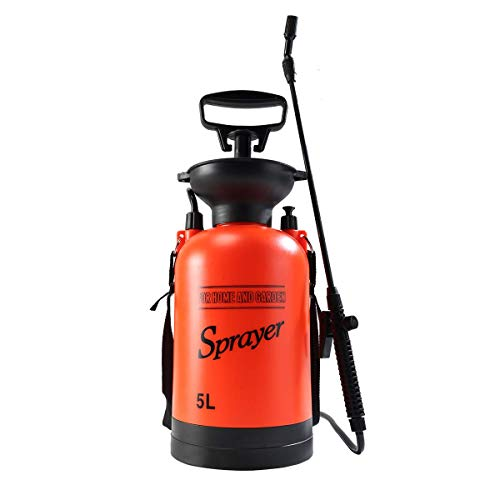 Gigibon Hand Pressure Sprayer 5-Litre Compression Sprayer Portable Lawn Garden Sprayer with Shoulder Strap for Gardening, Fertilizers, Cleaning ()