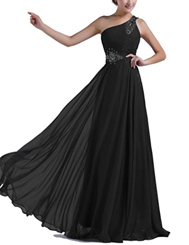 Geld Bridesmaid Chiffon Kleider Schwarz One lang Ball emmani Shoulder Damen 0qgBSHg4
