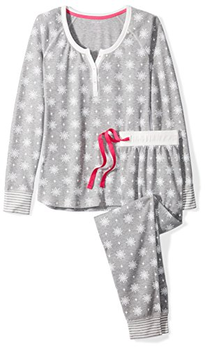 Mae Women s Sleepwear Vintage Thermal Loose Fit Henley Pajama Set ... 248d227e9
