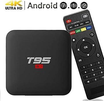 Maikoler Android 7.1.2 TV Box, Smart TV Box Quad-Core 64 bits / 1GB + 8GB Compatible con 4K (60Hz) Full HD/H.265/2.4G WiFi/HD 2.0 T95 Android Box: Amazon.es: Electrónica