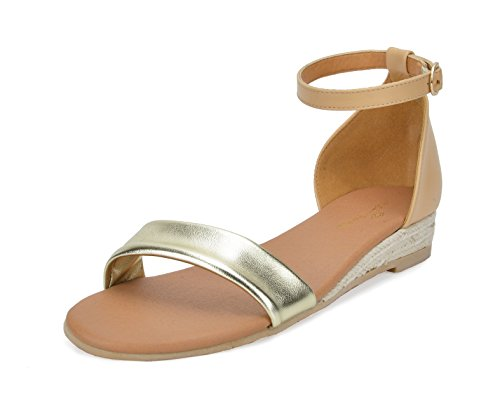 Sandals DREAM 10 PAIRS Formosa Nude Low 10 gold Platform Wedges Womens Ankle Strap 1q6wT1f