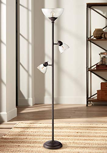 Riley Modern Torchiere Floor Lamp 3-Light Tree Painted Bronze Clear Glass Shade for Living Room Reading Bedroom Office - 360 Lighting