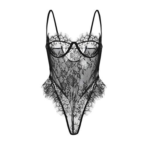 Jiayit Ladies Sexy Lingerie for Women for Sex Lace Suspenders Erotic Lingerie Fashion Lingerie Lace Teddy One Piece Mesh Bodysuit Babydoll Underwear Nightdress Nightgown Sleepwear (XXL)