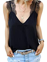 Women's V Neck Lace Strappy Cami Tank Tops Casual Loose Sleeveless Blouse Shirts