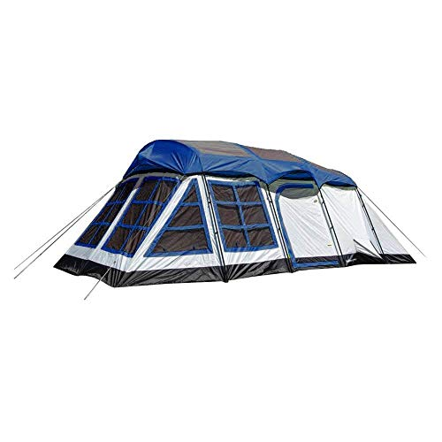 Tahoe Gear Glacier 20 x 12 Inch 14 Person 3 Season Cabin Tent, Blue & White