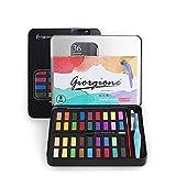 NEWKIBOU Pintura de Acuarela, Set de Pintura de Acuarela 36 Colores, se combina con lápiz de carbón, Pincel de Acuarela y Papeles de Acuarela para Pintura, diseño artístico y Juegos de Regalo