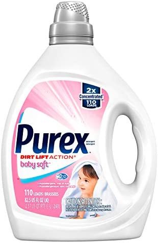 41vXroe6fQL. AC - Purex Liquid Laundry Detergent, Baby Soft, Hypoallergenic, 2X Concentrated, 2 Pack, 220 Total Loads