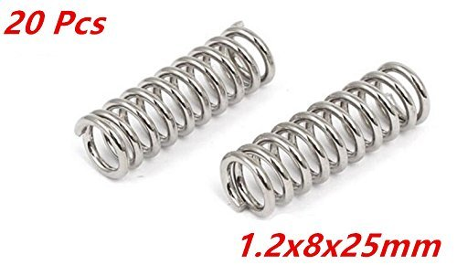 XJS Nickel Plated Compression Extension Spring Coil Springs 1.2x8.0x25mm 20 pcs