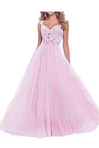 Abendkleider Spitze Weiss A Promkleider Lang Rock Rosa Damen Braut mia Linie Ballkleider La Kleider Festlichkleider Jugendweihe vHqnSYIx