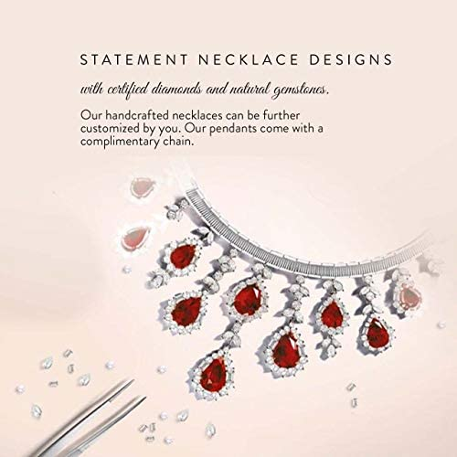 Diamondere Natural and Certified Gemstone and Diamond Three Stone Petite Necklace in 14k White Gold | 0.18 Carat Pendant with Chain
