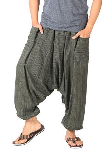 CandyHusky Mens Stripe Cotton Summer Baggy Boho Aladdin Hippie Yoga Harem Pants (Dark Olive Green)]()