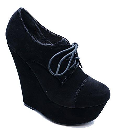 alto plataforma zapatos tamaños Señoras con tacón de 3 negro cuña 7 de botines Brogue cordones 4x8nwqPx7