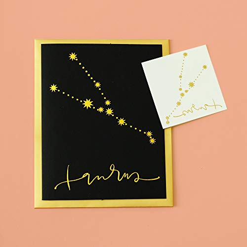 Flash Tattoos Zodiac Taurus Greeting Card for any occasion, metallic gold foil card with free constellation metallic gold temporary tattoo