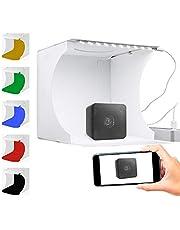 Redlemon Caja de Luz para Fotografía Semi Profesional Portátil, Kit para Estudio Fotográfico de Producto, Iluminación LED USB. Incluye 6 Fondos de Colores, Bolsa para Transportar, Tamaño Pequeño