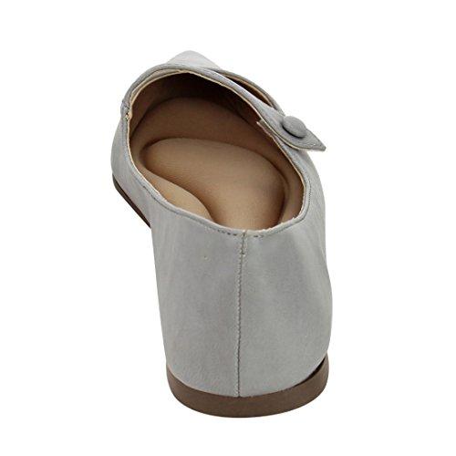 Breckelles Spisse Tå Ballett Flat - Mary Jane Flat - Slip På Flat - Gi91 Av Grå Lær