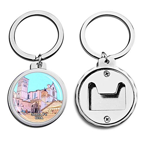 USA United States Bottle Opener Keychain The Cathedral Basilica of St. Francis of Assisi Santa Fe Mini Bottle Cap Opener Keychain Creative Crayon Drawing Crystal Key Chain Travel Souvenirs Metal (Cathedral Basilica Of St Francis Of Assisi)