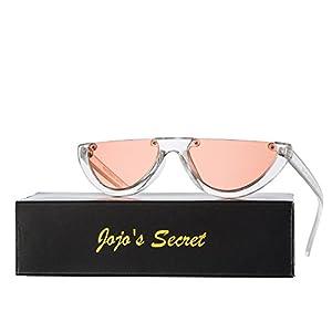 JOJO'S SECRET Half Frame Women Cat Eye Sunglasses Brand Designer Fashion Eyewear JS037 (Transparent White/Orange, 2.6)
