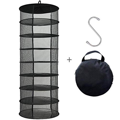 2' Net Pot - Hanging Dry net,Elaiko Collapsible Mesh Hanging Herb Drying Net /Drying Rack,Gift to S Hang buckle and storage bag (Black-2Ft-8Layer)