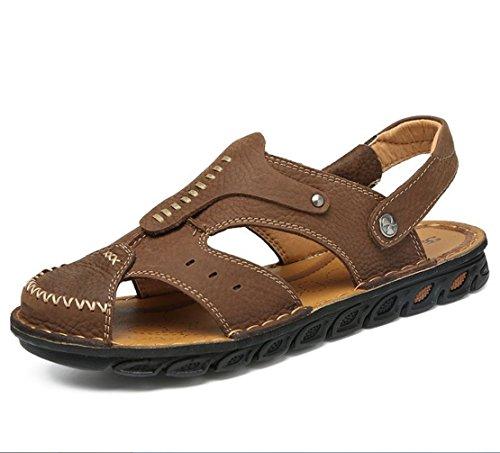 Zwei Tragen Casual Mode Fahr Atmungsaktiv Hausschuhe Schweißabsorbierend Sandalen ZHANGM Sandalen Ledersandalen Bergsteigen Wandern Hellbraun Sommer Schuhe Outdoor Herren 7wSngxIg