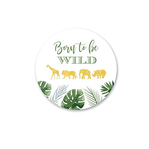 40 cnt Born to be Wild Labels - Baby Shower and Birthday Favor Stickers ()