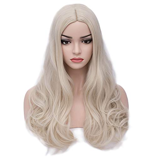 BERON 24'' Long Wavy Wig Center Parted Full Synthetic Wigs Wig Cap Included (Light Blonde) ()