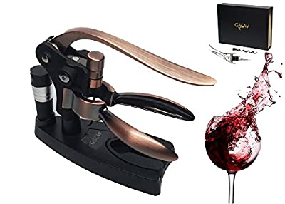 Rabbit Style Lever Corkscrew - Best Gifts for Christmas and Holidays - Wine Bottle Opener, Aerator Decanter Pourer, Stopper Vacuum Pump, Replacement Screw and Bonus Foil Cutter with Stand